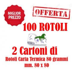 100 Rotoli Scommesse mm. 80x80 Carta Termica da 80 Grammi Retrostampa Generica ( 2 Cartoni )