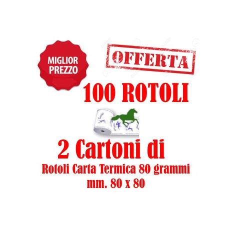 100 Rotoli Sommesse mm. 80x80 Carta Termica da 80 Grammi Retrostampa Generica