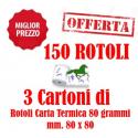 150 Rotoli Scommesse mm. 80x80 Carta Termica da 80 Grammi Retrostampa Generica ( 3 Cartoni )
