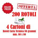 200 Rotoli Scommesse mm. 80x80 Carta Termica da 80 Grammi Retrostampa Generica ( 4 Cartoni )