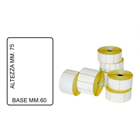 ROTOLO DA 500 ETICHETTE MM. 60 X 75 FORO 40 / 25