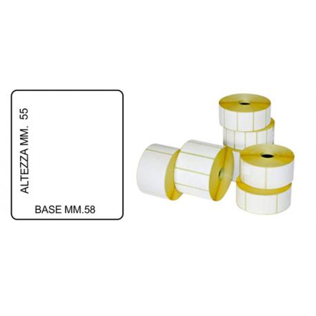 ROTOLO DA 800 ETICHETTE MM.58 X 55 FORO 40 Bianche